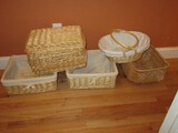Lot - Misc. Baskets Handled, Covered & Some w/ Linings