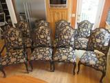 Set - 8 Jardine Ent. Ltd. Classic French Provincial Style Chairs Black Lacquer Finish Gilt Trim