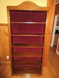 Bookcase w/ Adjustable Shelves Arched Pediment & Upholstered Felt Back