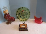 Lot - Decorative Glass Rooster w/ Peppers 13