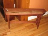 Teak Wood Slat Sauna Bench on Tapered Legs