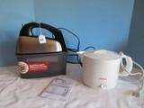 Lot - Hamilton Beach Hand Mixer w/ Soft Scrape & Snap on Case, Hot Pot by Sun Beam