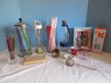 Lot - Straw Dispenser, Canning Jar Lid Pour Spout, Stir Sticks, Ballet Cupcake Set, Etc.