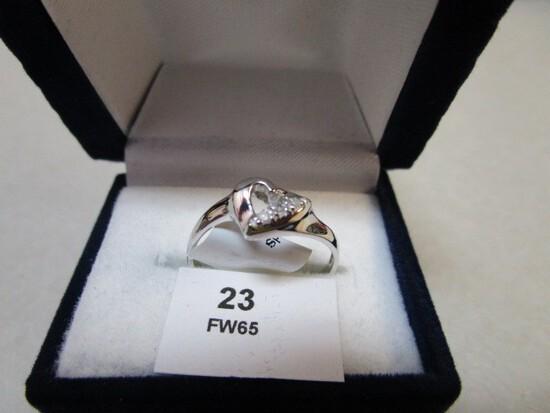 10K White Gold Heart Design Diamond 0.05ct, I, GH, Ring