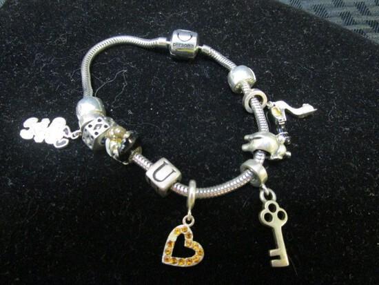 Silver Persona Label Bracelet w/ Snoopy, Bride/Groom, Heart, Key, Shoes Pendants
