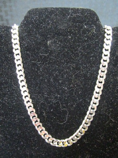 """Italian Sterling Silver 32.37gm, 18 1/4"""" End-End Necklace"""