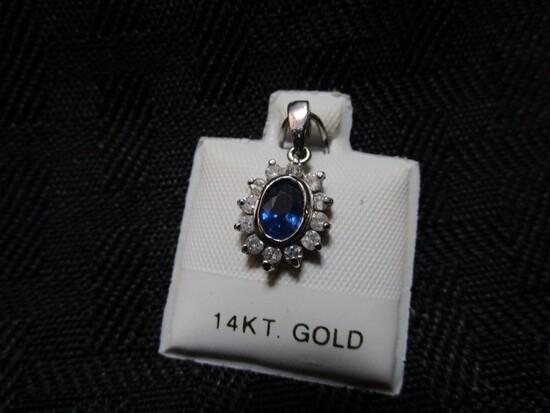14K White Gold Natural Sapphire From Ceylon 0.6ct Diamond 0.18ct I, G-H Pendant