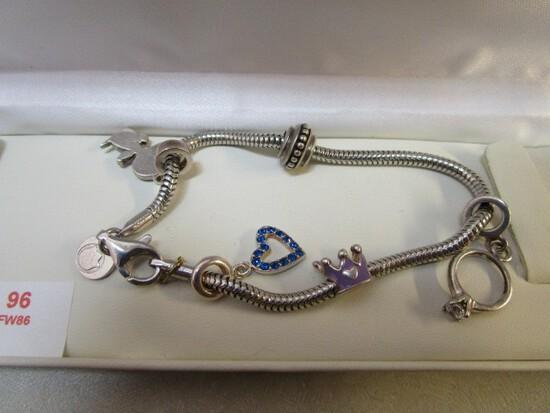 Silver Pandora Style 25gm Bracelet w/ Snoopy, Bead, Crown, Ring, Heart Pendants