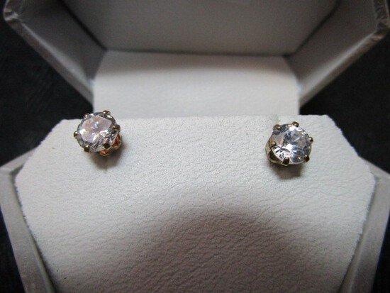 10k and 14K Yellow Gold Cubic Zirconia 5mm Silicone Stud Back Earrings