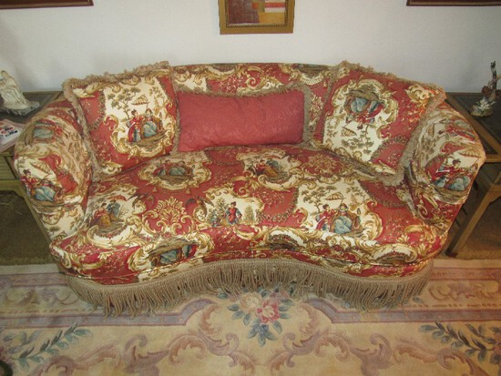 Sovereign Upholstery by Hickory Creek Curved Sofa w/ Ornate Asian Scene Upholstered Pattern