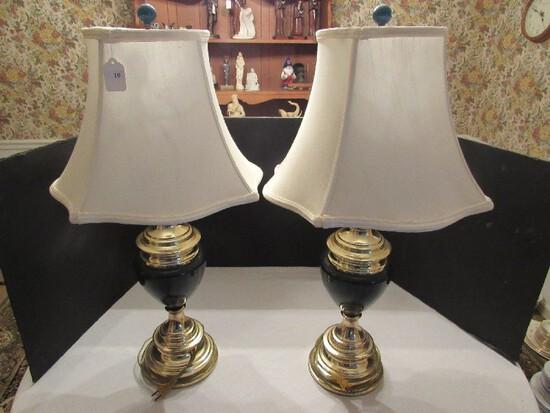 Pair - Urn Design Brass Lamps w/ Green Glass Center, Green Ball Finial w/ Cream Shade