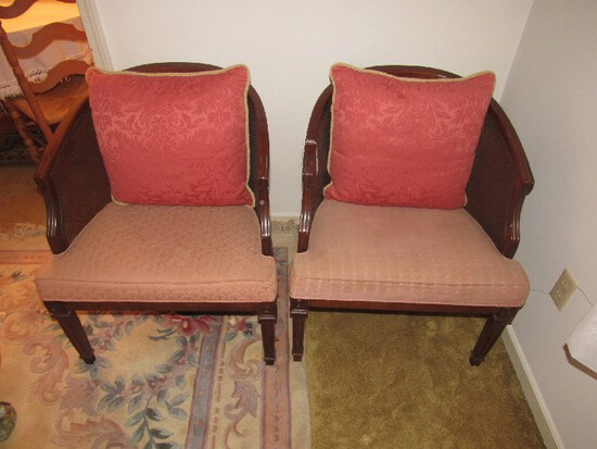 Wooden Pair Curved Back Chairs Wicker Sides Pink Upholstered Back/Seat Pin Back