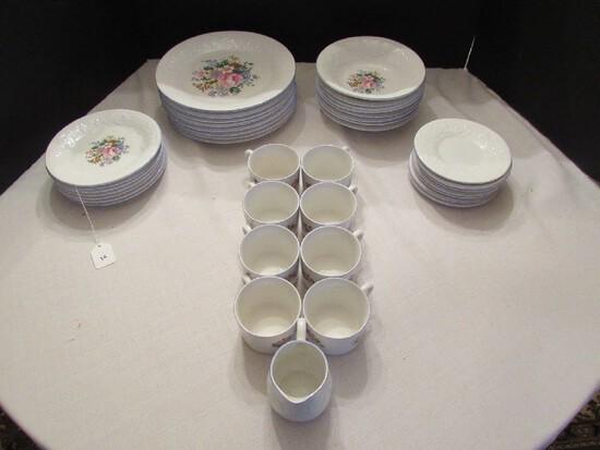 Victorian Rose Floral Center Blue Rim Ceramic Lot