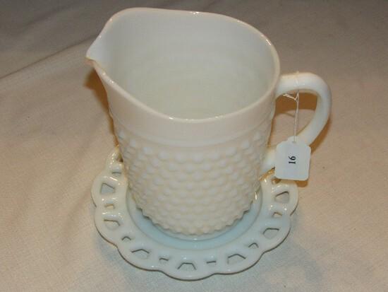 "Tall Milk Glass Hobnail Pitcher 8"" H, Milk Glass Plate Pierced Rim 8 1/4"" D"