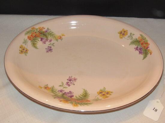 Royal Beigeware by Royal China Co. Sebring Ohio Pink Ceramic Oval Platter Floral Motif
