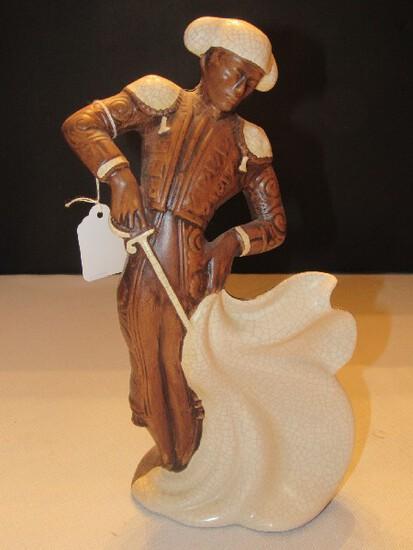 Ceramic Brown w/ White Glaze Bull Fighter