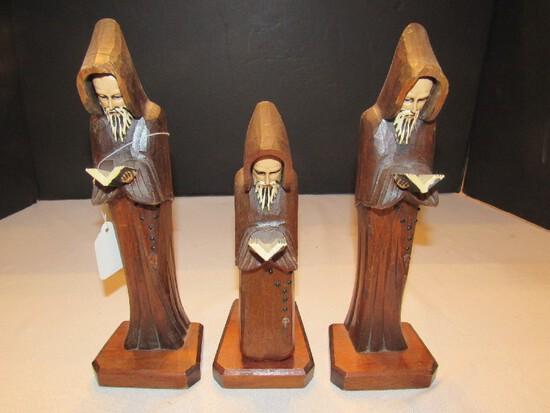 3 Wooden Carved Catholic Monks