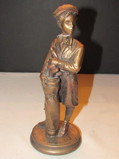 "Tall Bronze Patina ""Caddy"" Figurine"