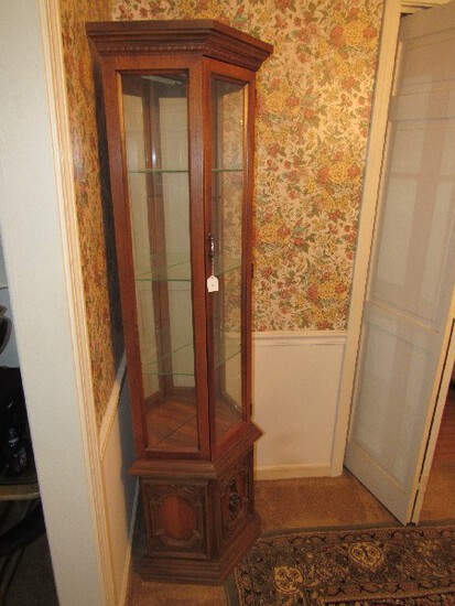 Tall Mahogany Wooden Corner Display Curio Ornate Carved Base w/ 2 Door, 1 Metal Pull
