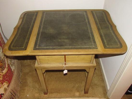 Pair - Drop Leaf Wooden Side Tables, 1 Drawer Black Legs w/ Brass Capped Feet, Slat Drawers