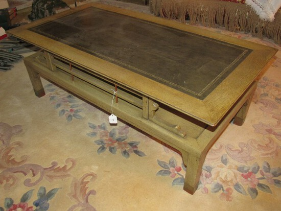 2-Tier Coffee Table Wooden, Black Legs w/ Brass Capped Feet w/ Black Leather Inlay Top