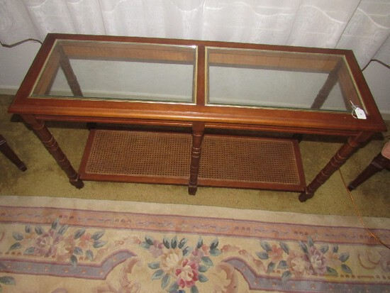 2-Tier Wooden Entry Table Glass Top, Wicker Lower, Spindle-Block Sides, Ball Feet