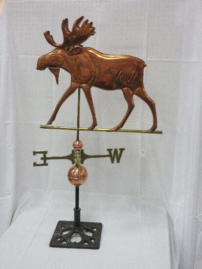 Artisan Sculpture Figural Copper Moose Weather Vane w/ Small/Large Globes