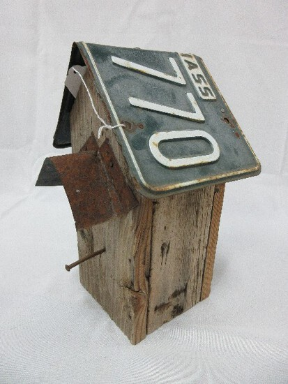 Primitive Folk Art Style Weathered Bird House w/ 1966 Mass. License Roof & Tin Porch Cover
