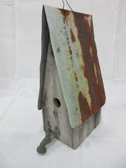 Primitive Folk Art Style Weathered A-Frame Bird House w/ Spigot Perch & Galvanized Roof