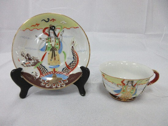 Made in Occupied Japan Porcelain Cup & Saucer Hand Painted Goddess & Dragon Design