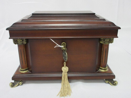 Bombay Co. Mahogany Finish Keepsake Chest Grecian Columns Accent, Scroll Feet w/ Lock