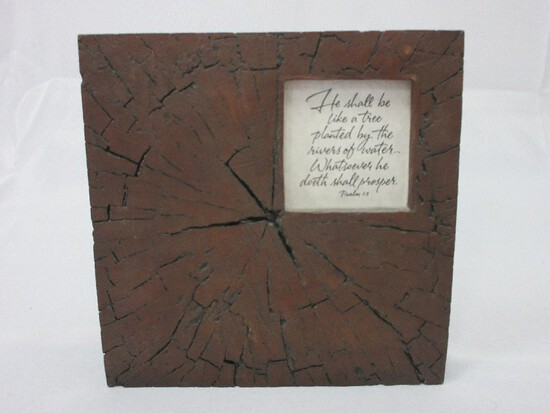 Gift At The Creek Resin Tree Slice Frame w/ Scripture Psalm1:3