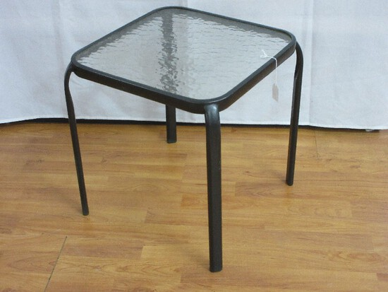 Cast Aluminum Black Patio End Table w/ Textured Glass Insert