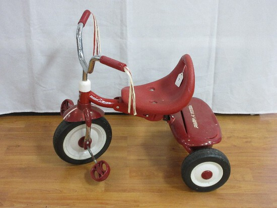 Red Radio Flyer Fold 2 Go Tricycle Trike w/ Storage Bin, Handlebar Streamers & Adjustable Seat