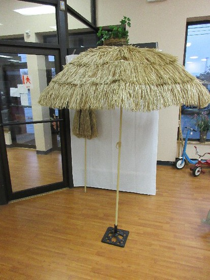 Pair - Hula Thatched Style Tiki Tropical Design Umbrellas on Metal Poles