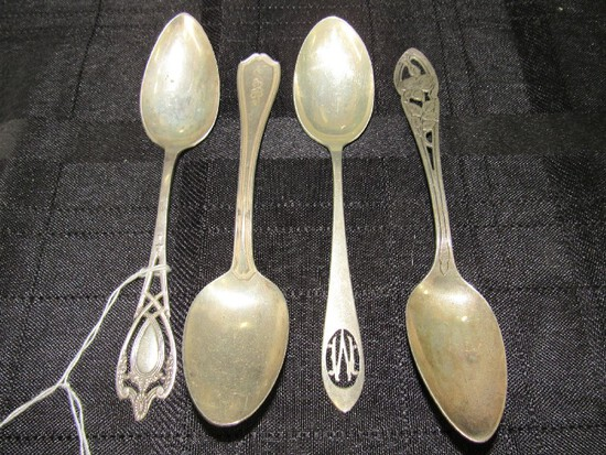 "4 Sterling Teaspoons, 1 ""M"" Pierced Stamp, 1 R.W. & S Sterling 128 Pierced Floral Design"