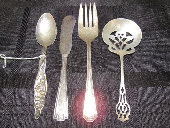 "Lot - ""MAE"" Etched Dewdrop Design Teaspoon, RLB Sterling Pierced Sugar Spoon"