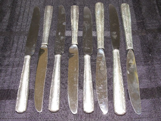 8 Gorham Sterling Camellia Pattern Table Knives Floral Trim Pattern