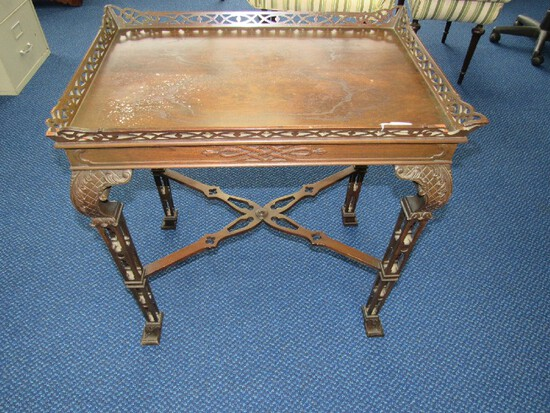 Vintage Flint & Horner Furniture Co. Dark Wooden Side Table Pierced Trim Top
