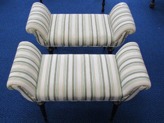 Pair - Green/Pale Striped Bed-End Benches Scroll Arms, Grooved Column