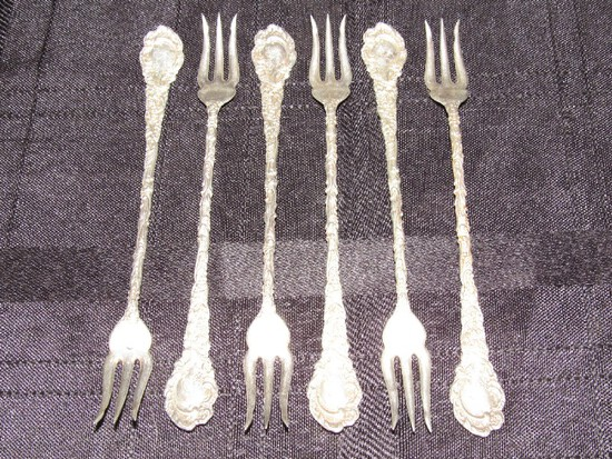 6 R.W. & S Sterling Lobster Forks Scroll/Floral Motif