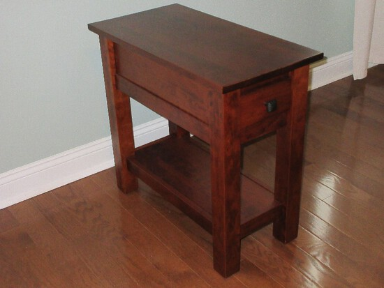Mission Style Chair Side Table w/ Drawer & Base Shelf