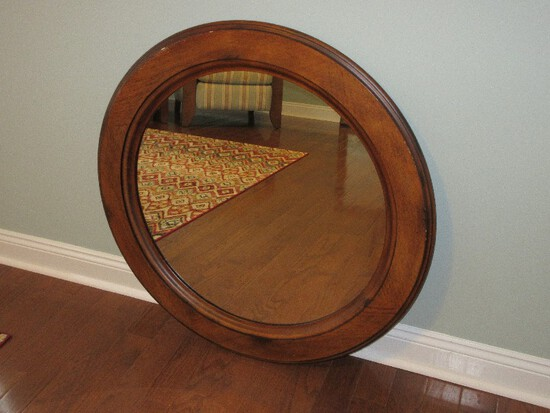 Kuliwood Classic Round Wall Mount Framed Mirror Antiqued Finish