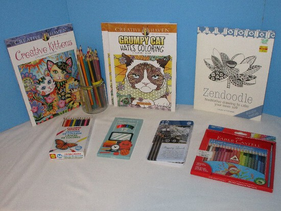 "Lot - 3 Creative Haven Adult Coloring Books ""Grumpy Cat Hates Coloring""/""Creative Kittens"""