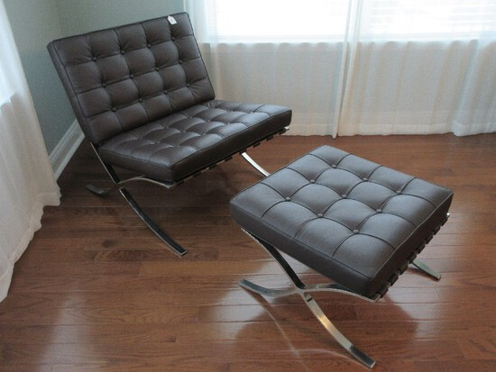 Truly Modern Classic Design Catalonia Lounge Chair w/ Ottoman Italian Genuine Leather