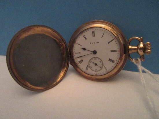 """Early Elgin 1 3/8"""" D Pocket Watch w/ Second Hand Traditional Engraved Design"""