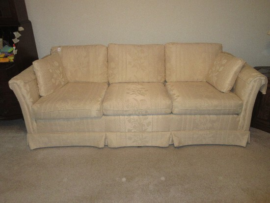 Pem-Kay Furniture Co. Inc. Transitional Modern Formal Sofa w/ Rolled Arms Pleated Skirt