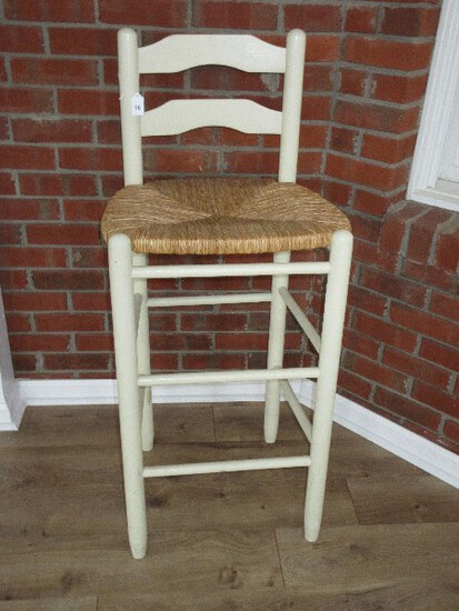 Painted Ladder Back Bar Stool w/ Rush Seat