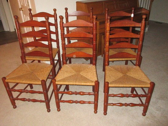 Set - 6 Pennsylvania House Traditional Cherry Ladder Back Chairs w/ Rush Seats