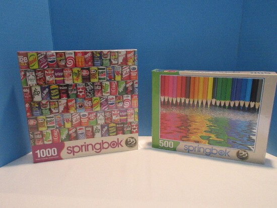 "2 Springbok Puzzles 500 Pieces Jigsaw ""Pencil Pushers"" Finished Size 23.5 x 18"""